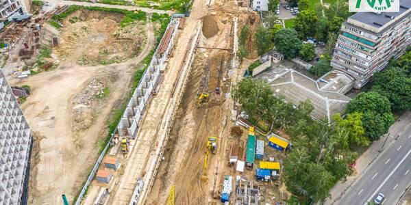 Будівництво метро на Виноградар показали з висоти пташиного польоту